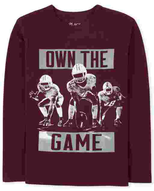 Boys Long Sleeve 'Own The Game' Football Graphic Tee