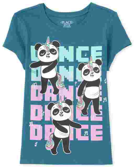 Girls Short Sleeve Dancing Pandas Graphic Tee