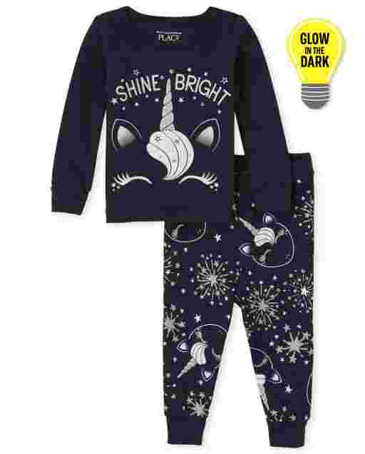Baby And Toddler Girls Long Sleeve Glow In The Dark 'Shine Bright' Unicorn Snug Fit Cotton Pajamas