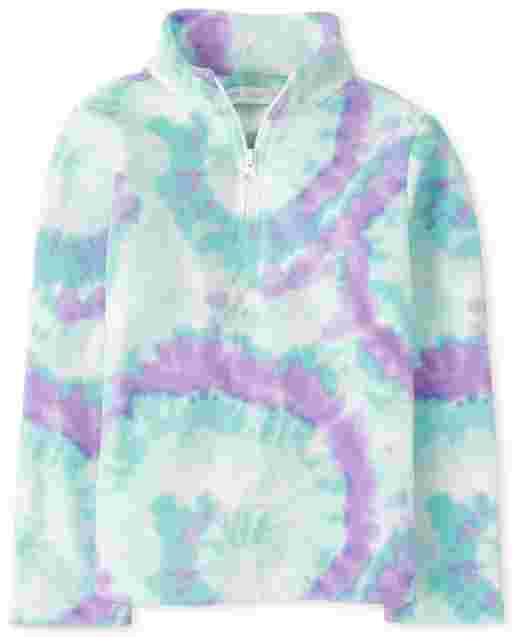 Girls Long Sleeve Print Microfleece Half Zip Pullover
