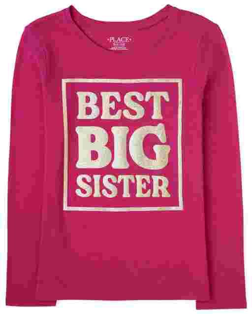 Camiseta estampada ' Best Big Sister ' manga larga para niñas