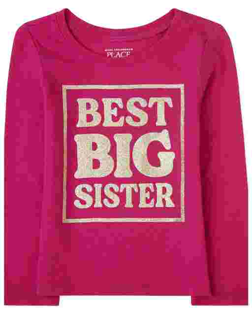 Baby And Toddler Girls Long Sleeve 'Best Big Sister' Graphic Tee