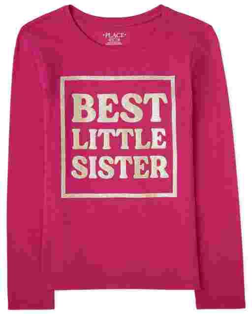 Camiseta estampada ' Best Little Sister ' manga larga para niñas