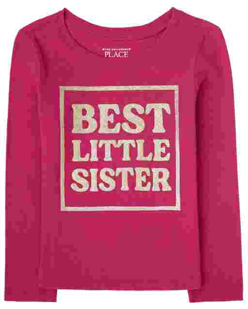 Baby And Toddler Girls Long Sleeve 'Best Little Sister' Graphic Tee