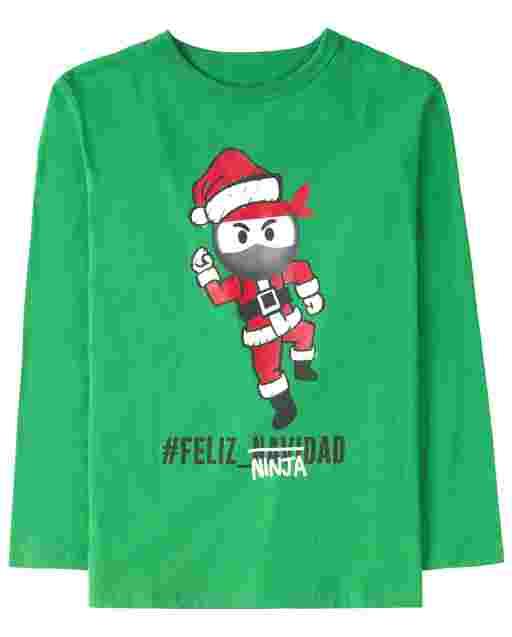 Boys Long Sleeve 'Hashtag Feliz Ninjadad' Graphic Tee
