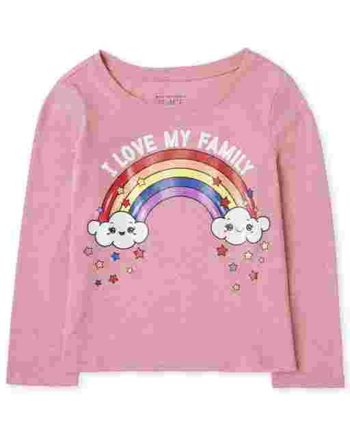 Baby And Toddler Girls Long Sleeve 'I Love My Family' Rainbow Graphic Tee