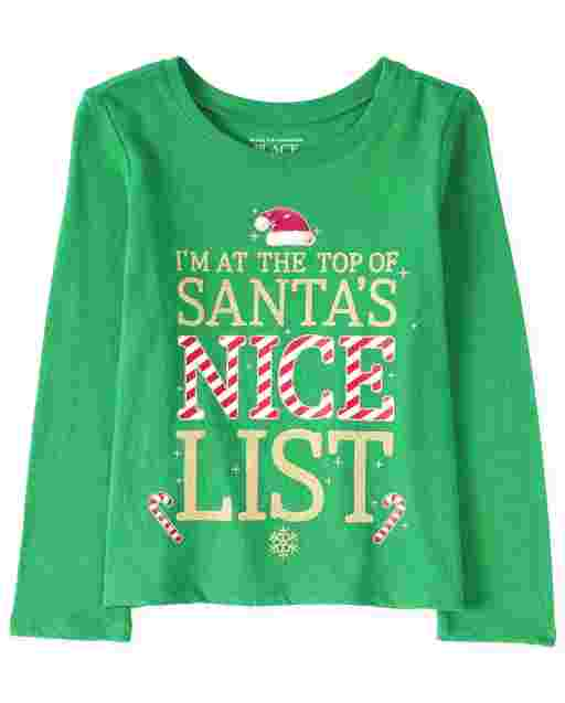 Baby And Toddler Girls Christmas Long Sleeve Glitter 'I'm On The Top Of Santa's Nice List' Graphic Tee