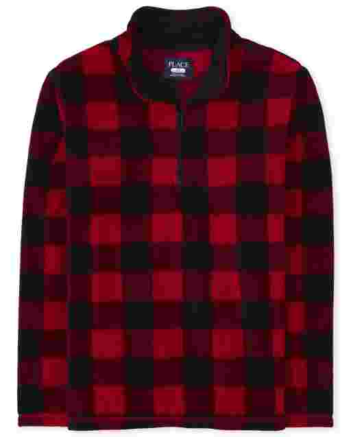 Unisex Adult Matching Family Long Sleeve Buffalo Plaid Microfleece Half Zip Pullover