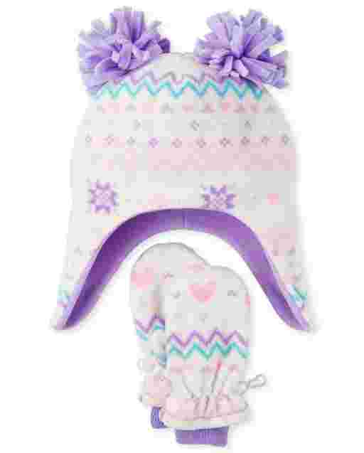 Toddler Girls Fairisle Microfleece Hat And Mittens Set