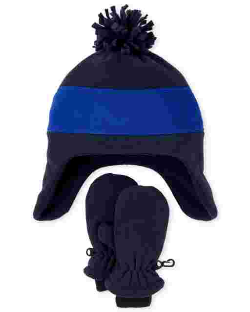 Toddler Boys Colorblock Microfleece Hat And Mittens Set