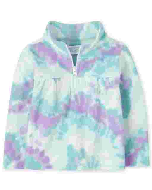 Toddler Girls Long Sleeve Print Microfleece Half Zip Pullover