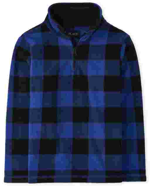 Boys Long Sleeve Buffalo Plaid Microfleece Half Zip Pullover