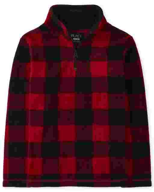 Unisex Kids Matching Family Long Sleeve Buffalo Plaid Microfleece Half Zip Pullover