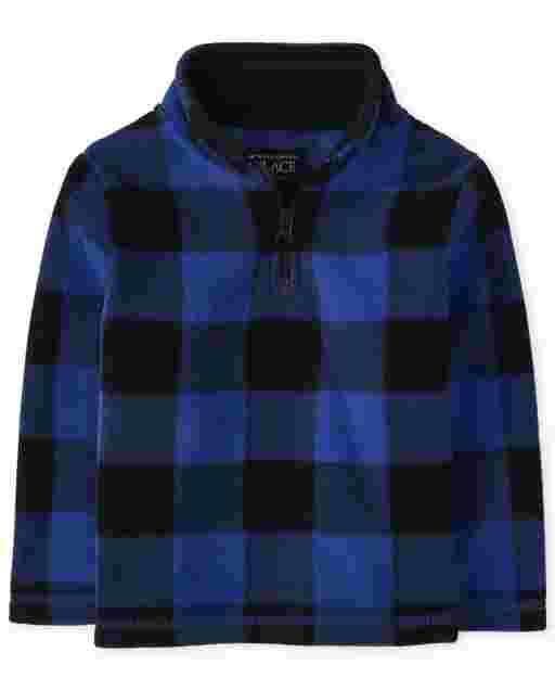 Unisex Toddler Long Sleeve Buffalo Plaid Microfleece Half Zip Pullover