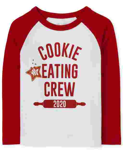Unisex Baby And Toddler Matching Family Long Raglan Sleeve 'Cookie Baking Crew 2020' Graphic Tee