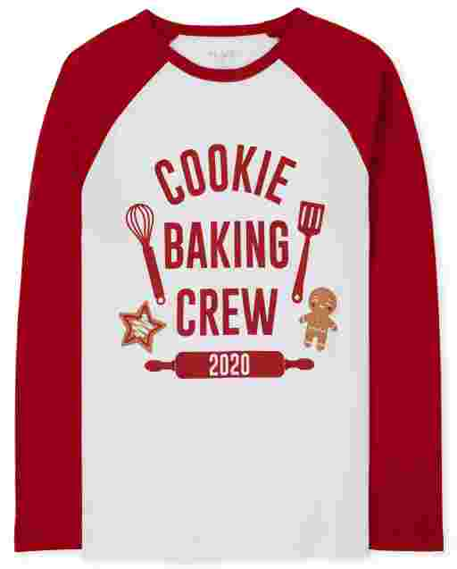 Unisex Adult Matching Family Long Raglan Sleeve 'Cookie Baking Crew 2020' Graphic Tee