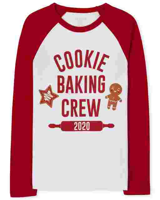 Unisex Kids Matching Family Long Raglan Sleeve 'Cookie Baking Crew 2020' Graphic Tee