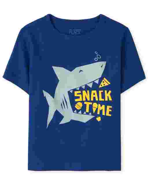 Baby And Toddler Boys Short Sleeve 'Snack Time' Shark Graphic Tee