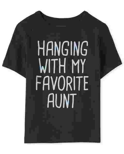 Baby And Toddler Boys Short Sleeve 'Hanging With My Favorite Aunt' Graphic Tee