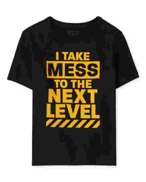 Baby And Toddler Boys Short Sleeve 'I Take Mess To The Next Level' Graphic Tee