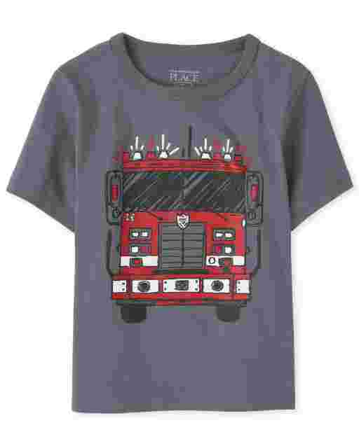 Baby And Toddler Boys Short Sleeve Fire Truck Graphic Tee