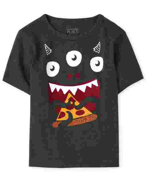 Baby And Toddler Boys Short Sleeve Pizza Monster Graphic Tee