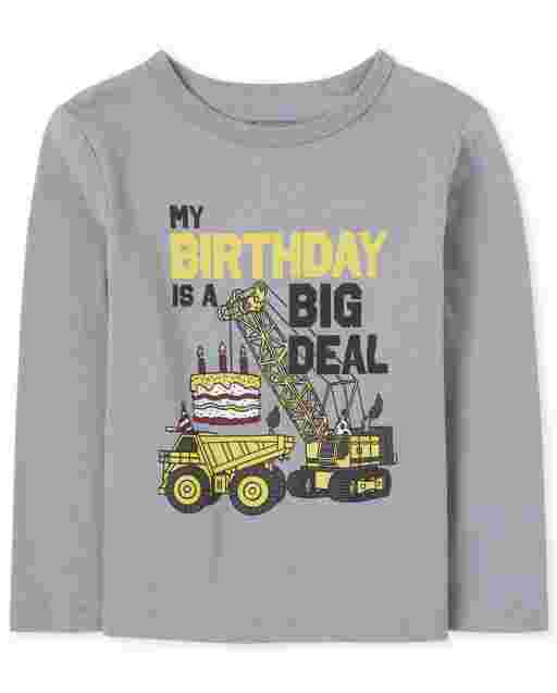 Toddler Boys Long Sleeve 'My Birthday Is A Big Deal' Construction Graphic Tee