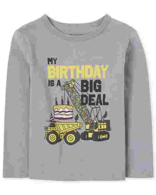 Camiseta de manga larga para niños pequeños ' My Birthday Is A Big Deal ' Construction Graphic Tee