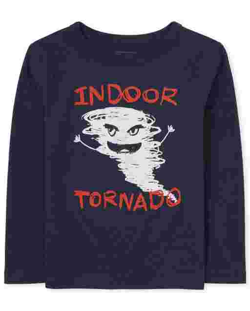 Baby And Toddler Boys Long Sleeve 'Indoor Tornado' Graphic Tee