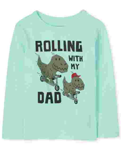 Baby And Toddler Boys Long Sleeve Dino 'Rolling With My Dad' Graphic Tee