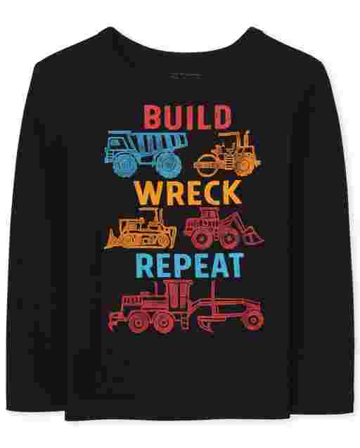 Baby And Toddler Boys Long Sleeve 'Build Wreck Repeat' Construction Graphic Tee
