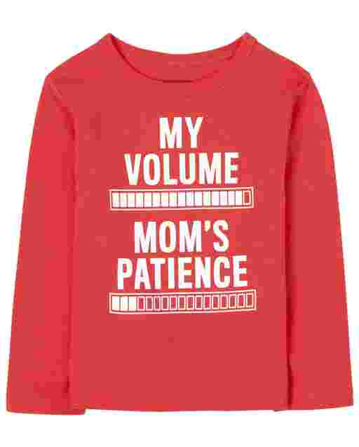 Baby And Toddler Boys Long Sleeve 'My Volume Mom's Patience' Graphic Tee