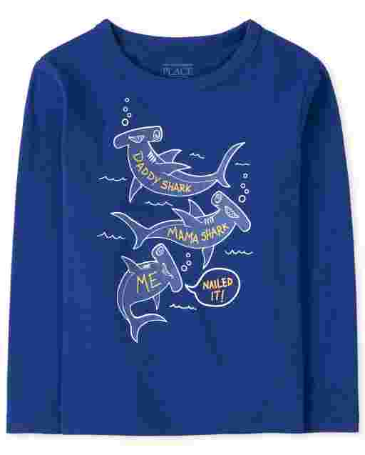 Baby And Toddler Boys Long Sleeve Shark Family Graphic Tee