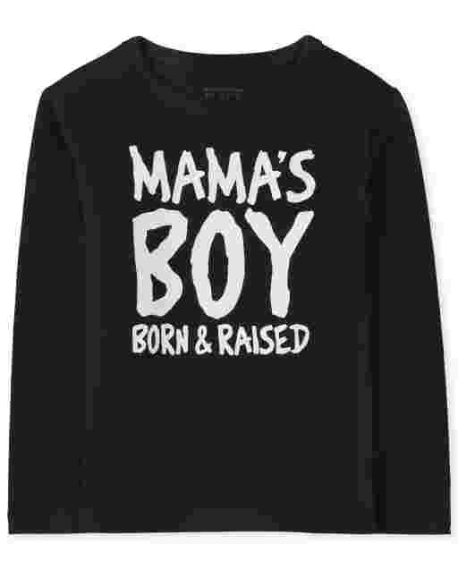Baby And Toddler Boys Long Sleeve 'Mama's Boy Born And Raised' Graphic Tee