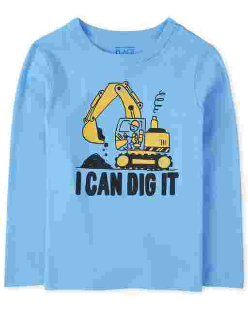 Baby And Toddler Boys Long Sleeve 'I Can Dig It' Graphic Tee