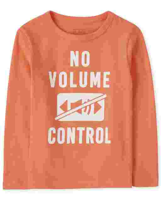 Baby And Toddler Boys Long Sleeve 'No Volume Control' Graphic Tee