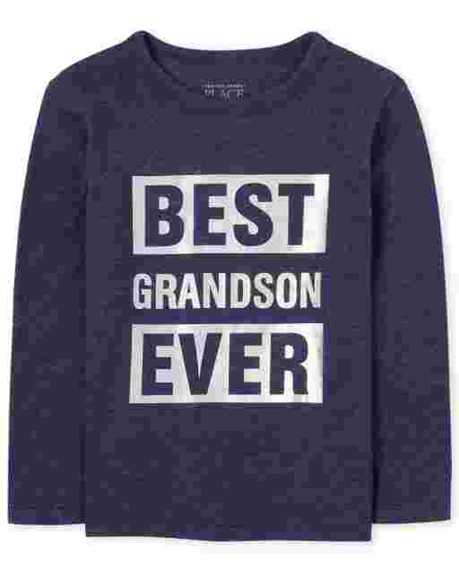 Baby And Toddler Boys Matching Family Long Sleeve Foil 'Best Grandson Ever' Graphic Tee