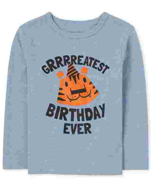 Toddler Boys Long Sleeve 'Grrrreatest Birthday Ever' Tiger Graphic Tee