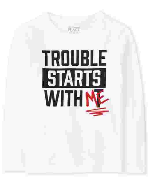 Baby And Toddler Boys Long Sleeve 'Trouble Starts With Me' Graphic Tee