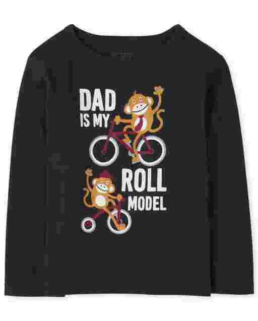 Baby And Toddler Boys Long Sleeve 'Dad Is My Roll Model' Graphic Tee