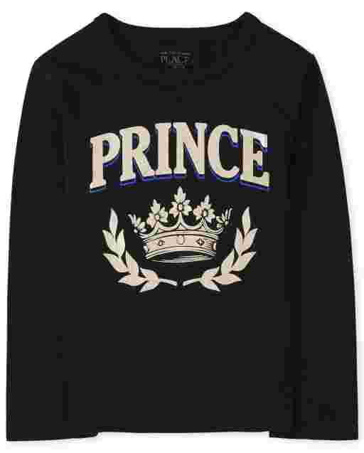 Baby And Toddler Boys Matching Family Long Sleeve Foil 'Prince' Royalty Graphic Tee