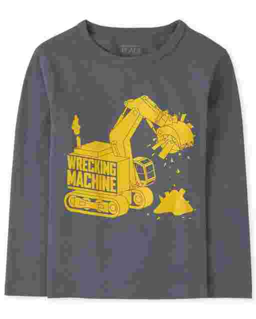 Baby And Toddler Boys Long Sleeve 'Wrecking Machine' Construction Graphic Tee