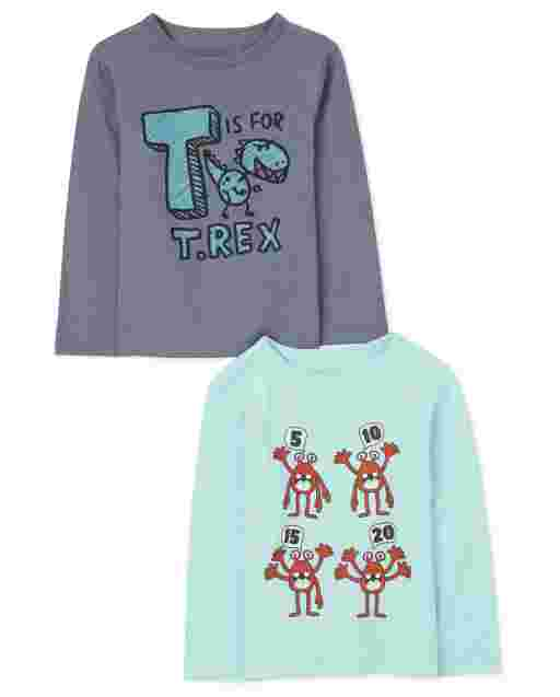 Baby And Toddler Boys Long Sleeve 'T Is For T Rex' And '5 10 15 20' Letters And Numbers Graphic Tee 2-Pack