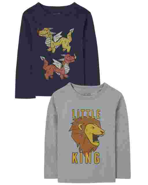 Baby And Toddler Boys Long Sleeve 'Little King' Lion And Dragons Graphic Tee 2-Pack
