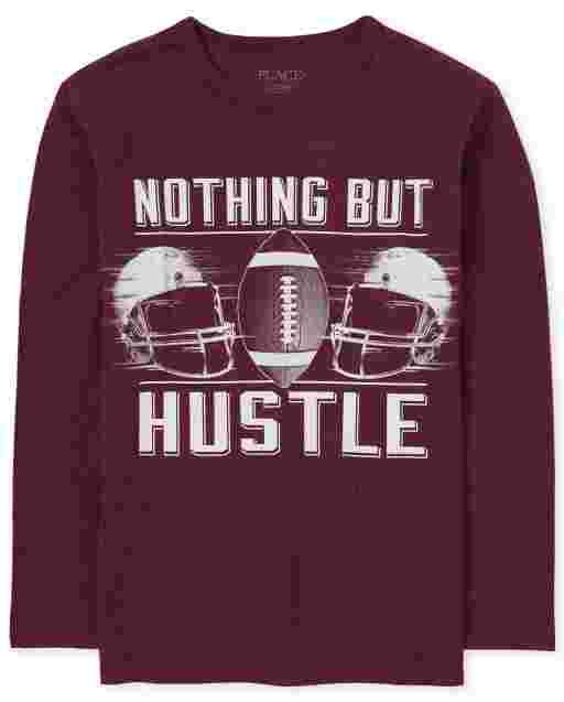Boys Long Sleeve 'Nothing But Hustle' Football Graphic Tee