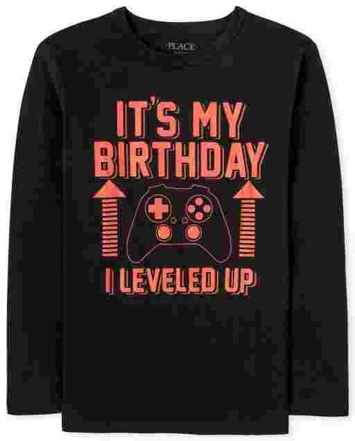 Boys Long Sleeve 'It's My Birthday I Leveled Up' Video Game Graphic Tee