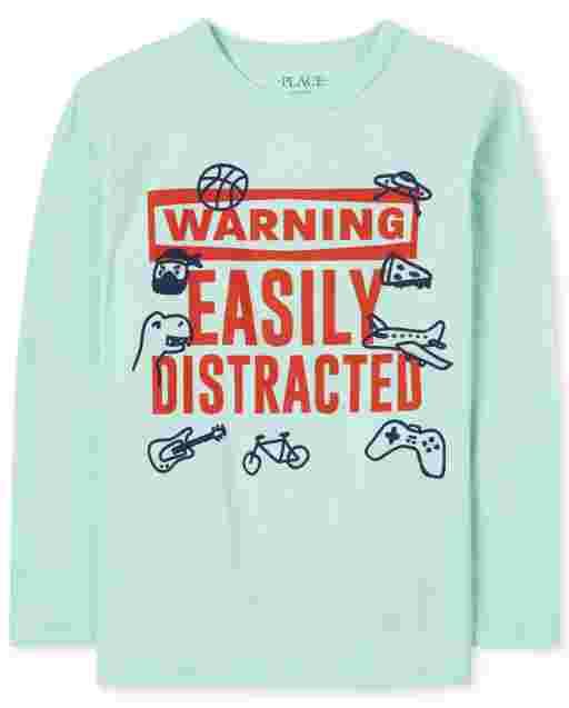 Camiseta de manga larga para niños ' Advertencia Fácilmente distraído ' gráfico