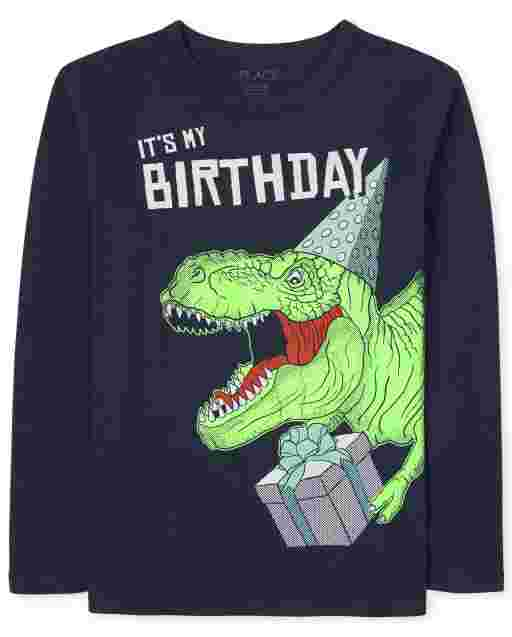 Boys Long Sleeve 'It's My Birthday' Dino Graphic Tee