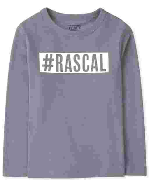 Baby And Toddler Boys Long Sleeve 'Hashtag Rascal' Graphic Tee