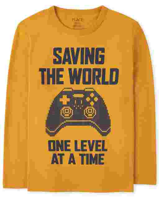 Boys Long Sleeve 'Saving The World One Level At A Time' Video Game Graphic Tee